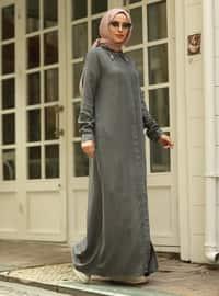 Gray - Point Collar - Denim - Abaya