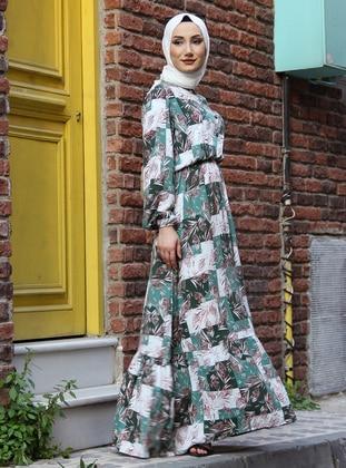 Emerald - Multi - Button Collar - Viscose - Modest Dress