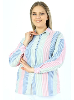 Blue - Pink - Stripe - Point Collar - Blouses