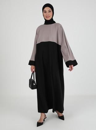 Black - Mink - Unlined - Crew neck - Abaya