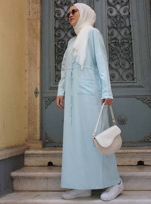 Turquoise - Crew neck - Unlined - Modest Dress