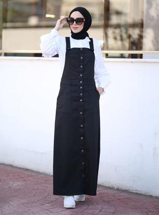 Black - Denim - Skirt Overalls