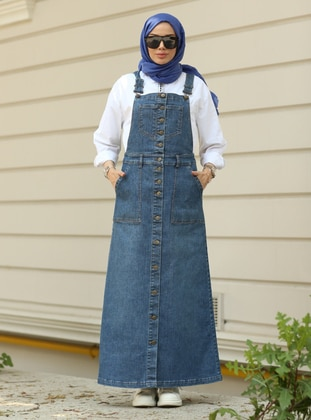 Dark Blue - Denim - Skirt Overalls - Neways