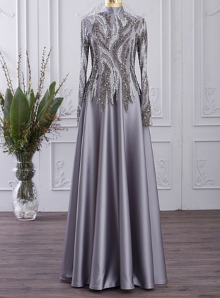 Gray - Fully Lined - Polo neck - Modest Evening Dress