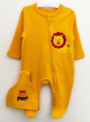 Multi - Unlined - Orange - Cotton - Baby Sleepsuit