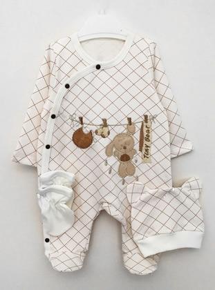 Multi - Crew neck - Unlined - Cream - Cotton - Baby Suit