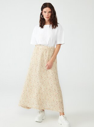 Beige - Floral - Fully Lined - Skirt