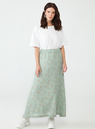 Mint - Floral - Fully Lined - Skirt