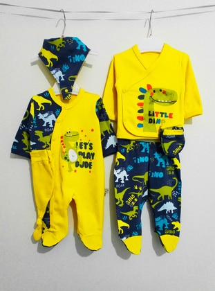 Multi - Unlined - Yellow - Cotton - Baby Suit
