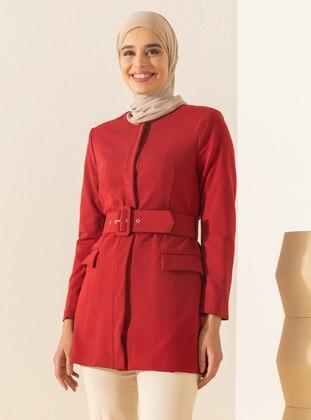 Red - Fully Lined - V neck Collar - Jacket
