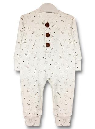 Multi - Crew neck - White - Cotton - Baby Sleepsuit
