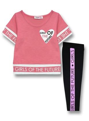Multi - Crew neck - Unlined - Pink - Cotton - Girls` Suit