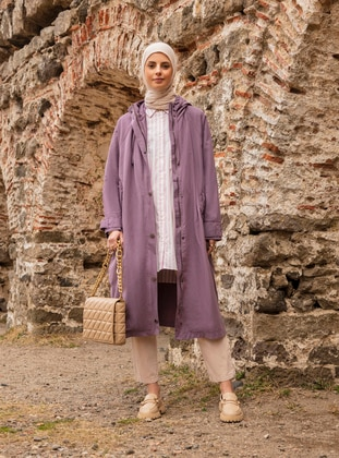 Purple - Unlined - Cotton - Trench Coat