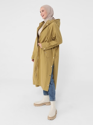 Olive Green - Green - Unlined - Cotton - Trench Coat