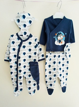 Multi - Unlined - Navy Blue - Cotton - Baby Suit