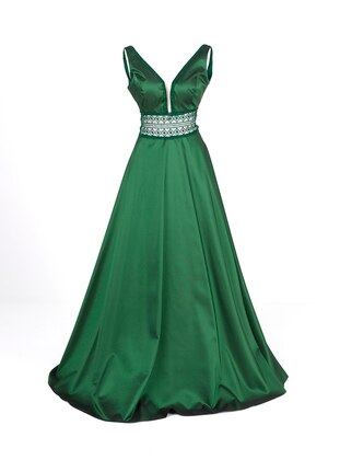 Emerald - Fully Lined - V neck Collar - Modest Evening Dress