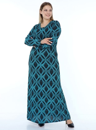 Blue - Crew neck - Fully Lined - Modest Dress
