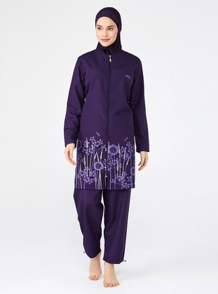 Purple - Full Coverage Swimsuit Burkini