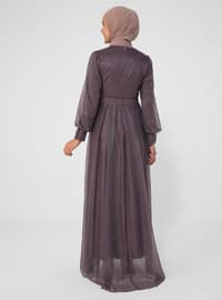 Purple - Fully Lined - Crew neck - Modest Evening Dress