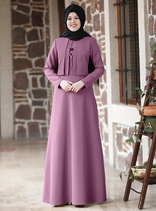 Dusty Rose - Unlined - Point Collar - Modest Evening Dress
