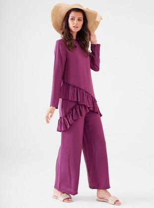 Fuchsia - Unlined - Cotton - Viscose - Suit