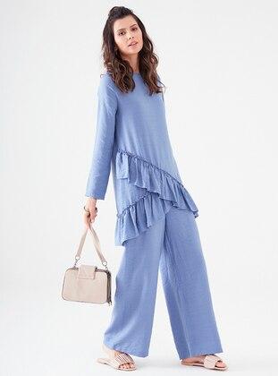 Indigo - Unlined - Cotton - Viscose - Suit