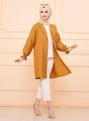 Tan - Unlined - Shawl Collar - Cotton - Jacket