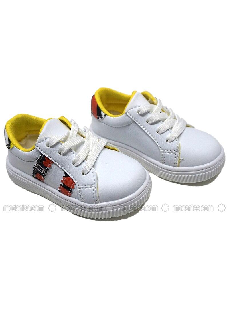 White - Black - Sport - Boys` Shoes