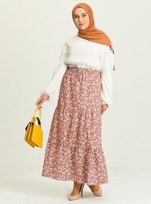 Pink - Floral - - Skirt
