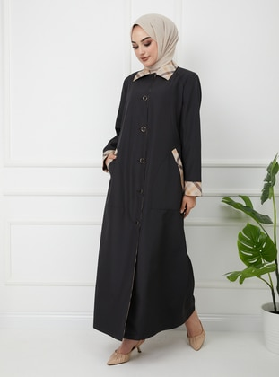 Black - Fully Lined - Round Collar - Trench Coat - Olcay