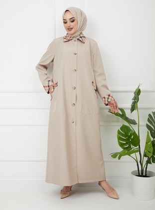 - Fully Lined - Round Collar - Trench Coat - Olcay