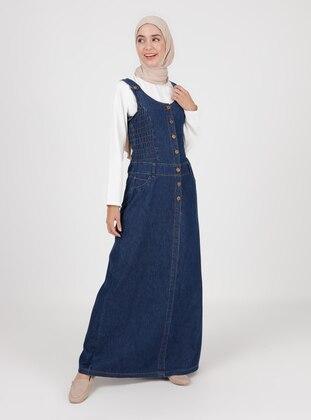 Unlined - Navy Blue - Denim - Skirt Overalls