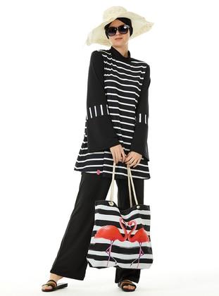 Black - Stripe - Full Coverage Swimsuit Burkini