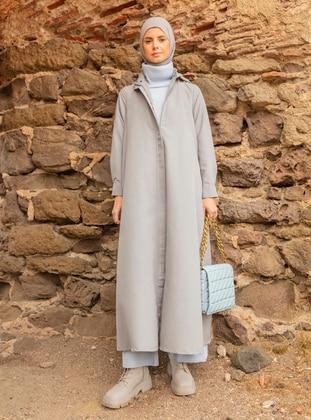 Gray - Unlined - Polo neck - Topcoat