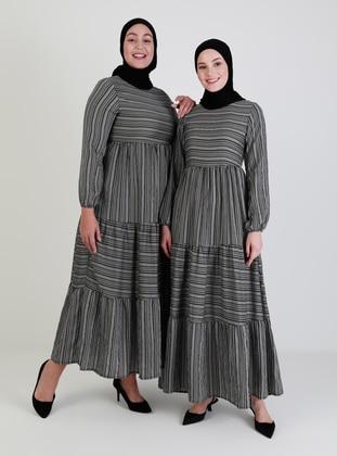 Black - Multi - Crew neck - Unlined - Viscose - Modest Dress