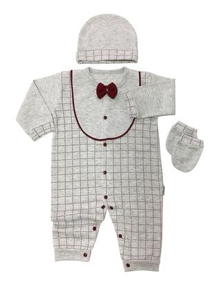 Plaid - Crew neck - Gray - Cotton - Baby Sleepsuit - Dinemis Baby