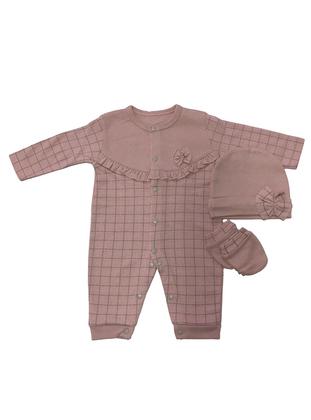 Plaid - Crew neck - Powder - Cotton - Baby Sleepsuit