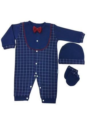 Plaid - Crew neck - Indigo - Cotton - Baby Sleepsuit - Dinemis Baby