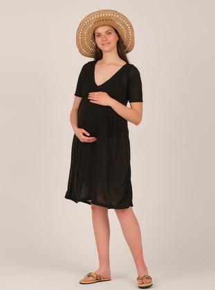 Black - V neck Collar - Maternity Tunic / T-Shirt