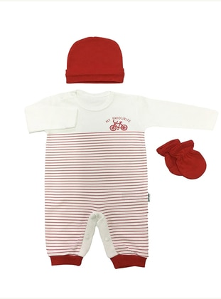 Stripe - Crew neck - Red - Cotton - Baby Suit