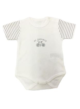 Stripe - Crew neck - Gray - Cotton - Baby Suit