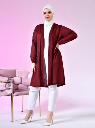 Maroon - Shawl Collar - Plus Size Cardigan