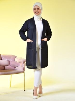 Navy Blue - Shawl Collar - Viscose - Plus Size Cardigan