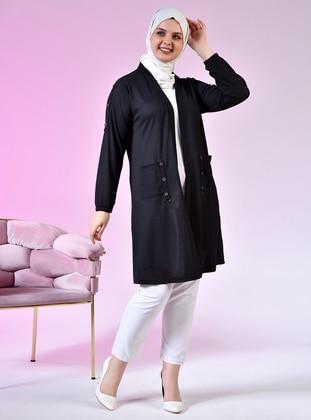 Black - Shawl Collar - Viscose - Plus Size Cardigan