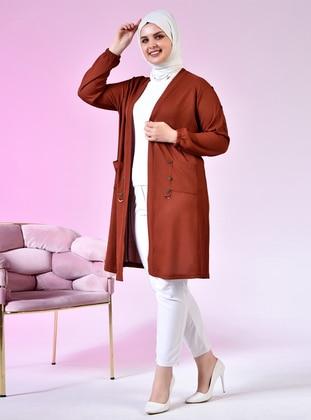 Tan - Shawl Collar - Viscose - Plus Size Cardigan
