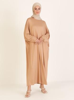 Brown - Unlined - Crew neck - Viscose - Abaya