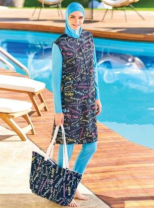 Dark Navy Blue - Unlined - Full Coverage Swimsuit Burkini