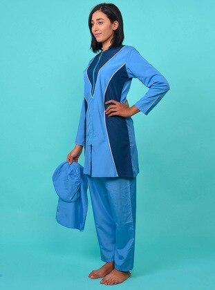 Blue - Unlined - Full Coverage Swimsuit Burkini