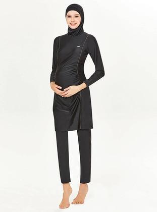 Black - Unlined - Full Coverage Swimsuit Burkini