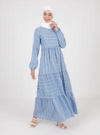 Indigo - Multi - Crew neck - Unlined - Viscose - Modest Dress